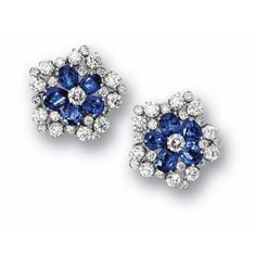 Pair of sapphire and diamond flower earclips, Aletto Brothers Gems Jewelry, Jewelry Art, Antique Jewelry, Jewelery, Vintage Jewelry, Fine Jewelry, Art Deco Earrings, Small Earrings, Diamond Earing