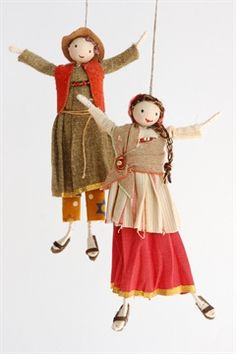 Halinka's Fairies-The Navitity- People of Bethlehem Designed and handmade by Halinka this happy couple are dressed in cotton and linen fabrics. They measure between 12 and 13cm tall,..