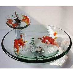 Goldfish Round Tempered Glass Vessel Sink with Waterfall Faucet ,Pop - Up Drain and Mounting Ring – USD $ 290.99