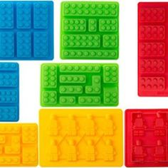 8pc Candy Molds For Lego Lovers, Chocolate Molds, Ice Cube Molds, Silicone Baking Molds, PREMIUM Silicone Molds- Building Blocks and Robots(Set of 8)
