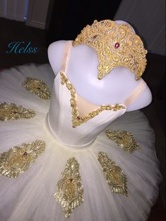 Tutu. Tiara. Stretch. Ballet. Cream and gold Italian Linel. Made by Helss.