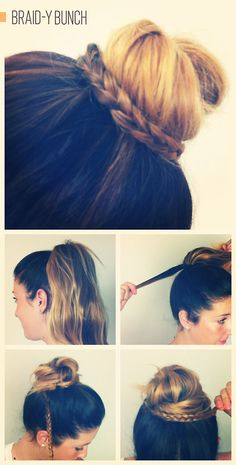 Her color makes me hurt, but it's a good example of how to do this.  High or low bun, it's trendy, quick & cute