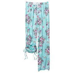 Floral Lace Full Length Sleep Pants- Aqua