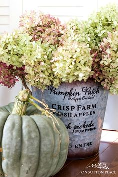 Fall Entry Decor | Farmhouse Fall Home Tour | Adding touches of fall with seeded eucalyptus, cotton bolls, velvet pumpkins, grain sack pillow covers & more!