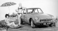 MGB GT 1968 with advertising  models