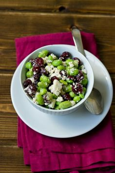 Edamame Cranberry & Feta Salad- simple side or appetizer for holiday entertaining Vegetarian Side Dishes, Vegetarian Recipes, Cooking Recipes, Healthy Recipes, Edamame Salad, Feta Salad, Healthy Snacks, Healthy Eating, Healthy Habits