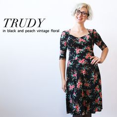 our gala wrap's non-wrap sister, the trudy dress features a sweetheart neckline with full coverage. the knee length skirt is a full swirl skirt. machine wash cool, hang dry, no ironing ever needed! the trudy is an american made dress crafted with love in Brooklyn, NY