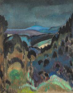 "thunderstruck9: ""Zoum Walter [Julienne Pauline Isidorine Walter] (1902-1974), Vosges aux arbres noirs, ciel sombre [Vosges with black trees, dark sky], 1967. Oil on canvas, 81.3 x 65.5 cm. """