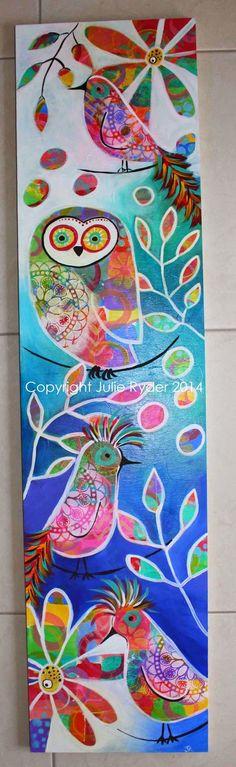 Beautiful wildlife - Timber panel with birds and owl
