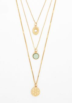 Dew as I Dew Necklace. You have only sweet words to say and delightful style to match - topped off with this layered gold necklace! #mint #modcloth