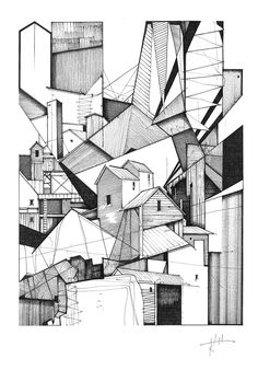 ARCHITECTURE arquigraph: Artworks by Architects to be Auctioned for Maggie's Centres Untitled by Kyle Henderson. Image Courtesy of Maggie's I like the stitching and the neat pen lines that turn a simple building very geometric and abstract Architecture Drawing Sketchbooks, Art And Architecture, Architecture Graphics, Art Sketches, Art Drawings, Abstract Drawings, Drawings Of Buildings, Buildings Artwork, 3d Sketch