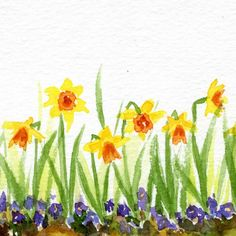 Daffodil Doodles are easy to paint if you follow these 4 easy steps. You can use your daffodil doodles to make framed art, cards and more.
