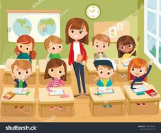 Find Pupils Study Classroom School Interior Education stock images in HD and millions of other royalty-free stock photos, illustrations and vectors in the Shutterstock collection. Thousands of new, high-quality pictures added every day. Primary School Education, Kids Education, Science Education, Teacher Cartoon, Cartoon Kids, Cartoon Images, Kid Character, Character Design, Art Classroom Management