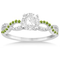 Allurez Infinity Diamond & Peridot Engagement Ring in 14k White Gold... (14,550 MXN) ❤ liked on Polyvore featuring jewelry, rings, peridot ring, 14k ring, bridal rings, diamond engagement rings and peridot engagement rings