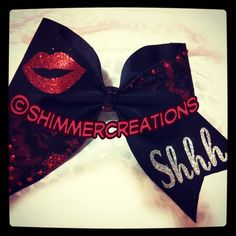 Pretty Little Liars Inspired Bow - Lips & Shhh 3 inch Custom Cheer Bow