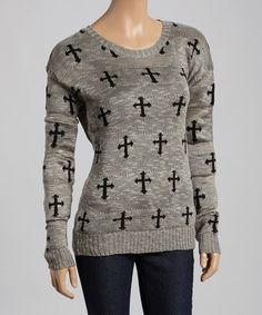 Another great find on #zulily! Heather Gray Cross Sweater #zulilyfinds