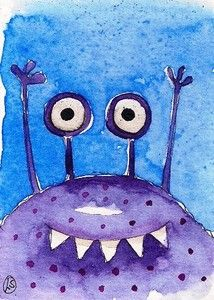 The purple monster, watercolor by Lucia Stewart (2012)