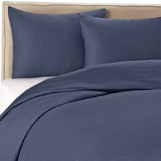 Wamsutta® 400 Duvet Cover Set in Blue Jean - BedBathandBeyond.com. Sateen weave, perfect color. Wished it had a little bit of a pattern and texture to it.