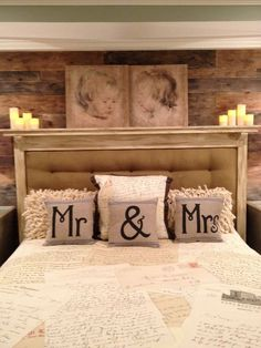 Unique Shabby Chic/Farm House Style Mr. & Mrs. Hand Painted Pillows!!!
