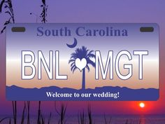 Custom made license plate welcome bag labels for your destination wedding!