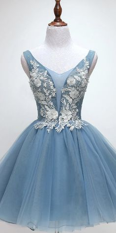 V Neck Dusty Blue Applique Cheap Short Homecoming Dresses Online, Cheap Short Prom Dresses, Cheap Short Prom Dresses, Blue Homecoming Dresses, Long Bridesmaid Dresses, Formal Dresses, Graduation Dresses, Dusty Blue, Dresser, Ball Dresses, Party Dresses