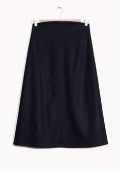 & Other Stories image 2 of High Rise Wool Midi Skirt in Dark Blue