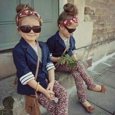 fashionable twin tots in florals and blazers