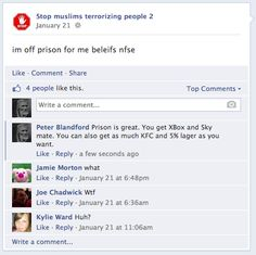 #EDL member off to prison for which he claims are his beliefs. He believes in alcohol fuelled violence.