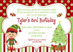 Christmas birthday party invitation by TheButterflyPress on Etsy, $10.00