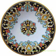 Ceramic Majolica Plate D206 30cm Glazes For Pottery, Ceramic Pottery, Ceramic Plates, Pottery Painting, Ceramic Painting, Italian Pottery, Blue Pottery, Marble Art, Pottery Designs