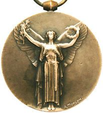 ANTIQUE ART NOUVEAU VICTORY ANGEL OF WWI BRONZE ART MEDAL PENDANT by A. MORLON