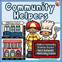 Community Helpers: This activity set has a memory game, worksheets, and a build-a-community bulletin board set for your students to make a large community and place the right community helpers next to the buildings where they work. $