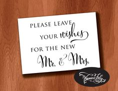 New to VeronicaFoleyDesign on Etsy: Please Leave Your Wishes for the New Mr. and Mrs. Wedding Sign Instant Download Guest Book Sign Printable Wedding Signage 4x6 5x7 8x10 (4.00 USD)