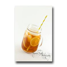 Lemon Iced Tea Photography Print 11x14 Kitchen Wall Decor Brown Yellow Paper Straw http://ift.tt/1keG2eW