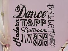 Items similar to Dance Wall Decal Girls Bedroom Wall Sticker Girls Nursery Wall Decor Subway Art Tapp Ballet Ballroom Modern Jazz Hip Hop Ballet Slippers on Etsy Dance Rooms, Girl Bedroom Walls, Girl Room, Bedrooms, Bedroom Themes, Nursery Room, Bedroom Ideas, Wall Stickers Girl Nursery, Ballerina