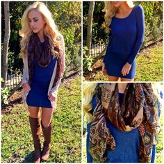 """Loving this layered look! NEW """"crew dress blue"""" ($28.99), """"fall florals scarf"""" ($9.99), """"fringe fanatic cardigan"""" ($24.99) shop in store and online at www.sophieandtrey.com! #sophieandtrey #freeshipping #winterfashion #ootd"""