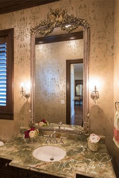 Powder room finish by NCF Studio. Multilayered palter finish with a stencil design. Stencil Designs, Powder Room, Bathrooms, It Is Finished, Mirror, Studio, Furniture, Home Decor, Trough Sink