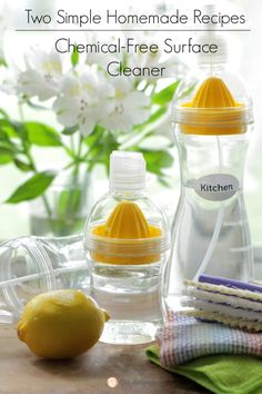 Tired of toxic chemicals in your home? Here are two super effective, chemical-free homemade surface cleaner recipes. With just a few simple ingredients your home can be clean!