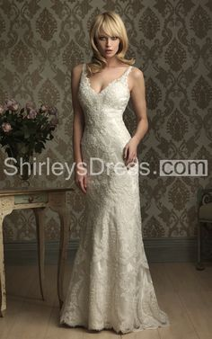 Sultry Sleeveless Plunge Slim-line All-over Lace Applique and Charmeuse Wedding Gown