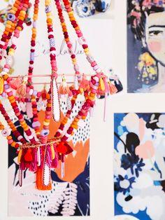 Bespoke chandelier made by Jemima Kingston of Kingston Jewellery using handmade beads and tassels, inspired by her jewellery range.