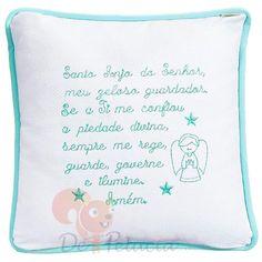 Almofada de bebê bordado Oração Santo Anjo - Verde