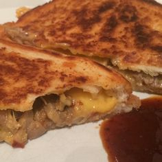 The mother of all toasties! Pulled pork, cheese, jalapeños and our Carolina BBQ Sauce. #toastie #jalapeño