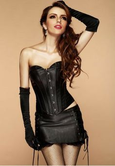 ff5a3f2d870 PVC Leather Long Line Bustier with Mini Skirt This black corset and skirt  set is a faux leather material. The corset has defined cups and a ribbon  laced ...