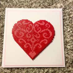 Heart card mini perler beads by theycallme_pg