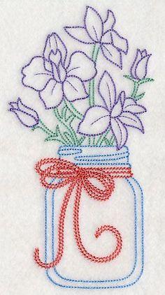Blooming Larkspurs in Mason Jar (Vintage) design (L9405) from www.Emblibrary.com