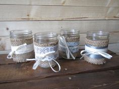 Mason jar candle holders wrapped with rustic burlap, lace, and ribbon - the perfect touch for that barn or country wedding, candlelight is so cozy and romantic! Mason Jar Candle Holders, Mason Jar Candles, The Perfect Touch, Rustic Feel, Ribbon Colors, Rustic Wedding, Burlap Lace, Barn, Cozy