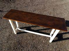 Элегентный стол-консоль. Столешница сделана из дверцы антикварного букового шкафа. Все трещинки и потертости на дереве натуральные от воздействия времени.