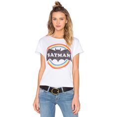 Junk Food Batman Tee ($24) ❤ liked on Polyvore featuring tops, t-shirts, graphic tees, graphic print tees, graphic design t shirts, junk food clothing, graphic t shirts and graphic tops