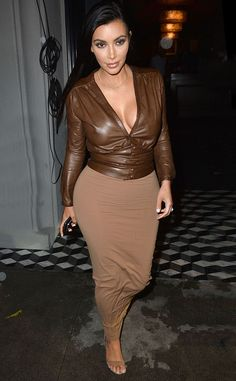 Cleavage alert! Kim Kardashian looks amazing leaving dinner in L.A!
