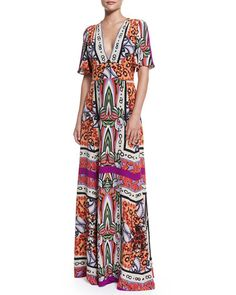 """Etro woven multi-print maxi dress. Approx. measurements: 60""""L down center back, 12.5""""L sleeves. Plunging V neckline. Short sleeves. Fitted bodice; flared skirt. Band nips in the natural waist. Hem fal"""